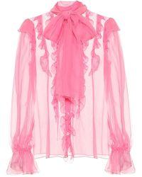 Dolce & Gabbana Blusa in chiffon di seta con ruches - Rosa