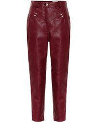 Stella McCartney Exclusive To Mytheresa – High-rise Faux Leather Straight Trousers - Red