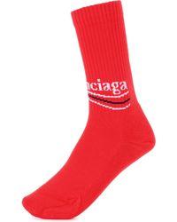 Balenciaga Cotton-blend Socks - Red