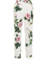Dolce & Gabbana Floral Cotton Cigarette Trousers - White