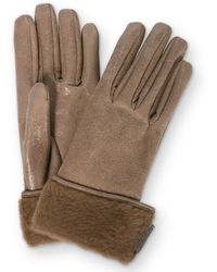 Brunello Cucinelli Shearling-trimmed Leather Gloves - Brown