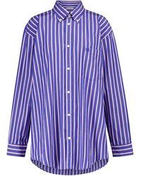 Balenciaga Striped Oversized Cotton Shirt - Blue