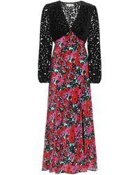 RIXO London Vestido midi Melanie de seda floral - Rojo