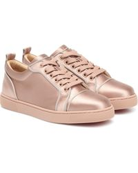 Christian Louboutin Louis Junior Silk-satin Sneakers - Pink
