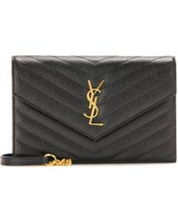 Saint Laurent Classic Monogram Quilted Leather Shoulder Bag - Black