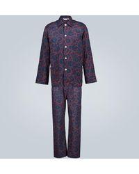 Derek Rose Set Ledbury de pijama de algodón - Azul