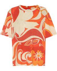 Dries Van Noten Camiseta de algodón estampada - Rojo