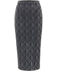 Marine Serre Optical-jacquard Pencil Skirt - Grey