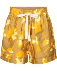 Lee Mathews Wren Floral Linen-blend Shorts - Yellow