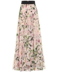 Dolce & Gabbana Gonna lunga a stampa floreale in seta - Multicolore