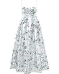 Erdem Adalyn Floral Jacquard Maxi Dress - Metallic