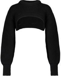Alexander McQueen Cropped-Pullover aus Rippstrick - Schwarz