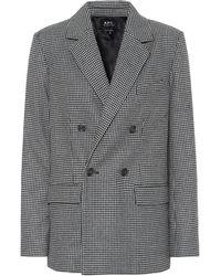 A.P.C. Plum Houndstooth Wool-blend Blazer - Grey
