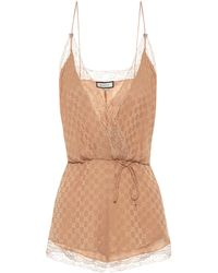 Gucci Lace-trimmed Silk Playsuit - Natural