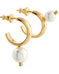 Simone Rocha Gold-plated Hoop Earrings With Faux Pearls - Metallic