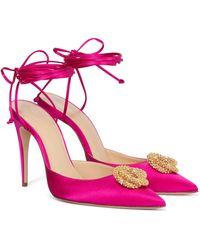 Magda Butrym Crystal-embellished Satin Court Shoes - Pink
