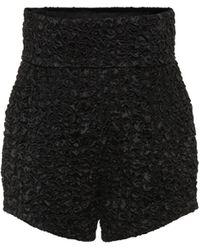 Saint Laurent Smocked Satin High-rise Shorts - Black