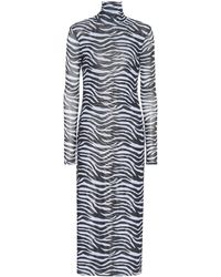 STAUD Zebra-print Metallic-lined Mesh Midi Dress - Black