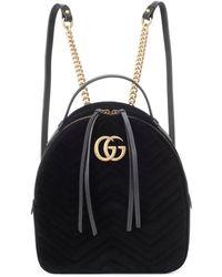 Gucci GG Marmont Velvet Backpack - Black