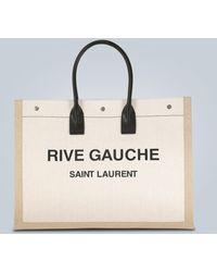 Saint Laurent Rive Gauche Canvas Tote Bag - Natural