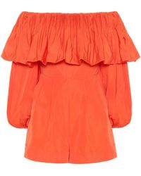 Valentino Cotton-blend Playsuit - Orange