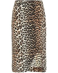 Ganni Leopard-printed Silk-blend Skirt - Multicolor