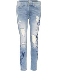 7 For All Mankind - Distressed Jeans The Ankle Skinny - Lyst