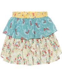 LoveShackFancy Ruffle Floral Cotton Miniskirt - Multicolour