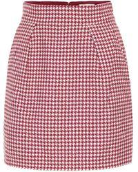 Alexandre Vauthier Mini-jupe en coton mélangé à carreaux - Rouge