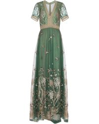 Costarellos Storytelling Embroidered Tulle Gown - Green