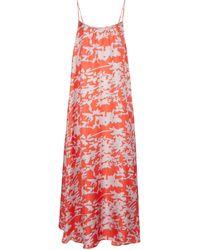 Asceno Robe Napoli imprimée en soie - Rouge