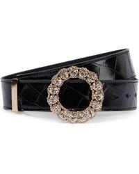 Erdem Embellished Croc-effect Leather - Black