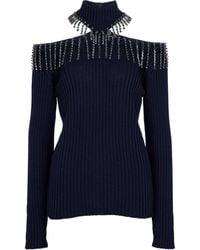 Christopher Kane Embellished Turtleneck Sweater - Blue