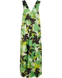 Dries Van Noten Floral Satin Maxi Dress - Green