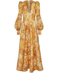 Zimmermann Tempo Printed Silk And Linen Gown - Metallic