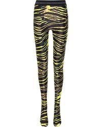 Marine Serre Zebra-print Stretch-jersey Tights - Multicolour