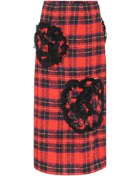 Simone Rocha - Embellished Checked Pencil Skirt - Lyst