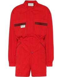 Gucci Cotton Twill Playsuit - Red
