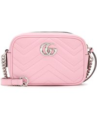 Gucci Mini GG Marmont Shoulder Bag Leather - Pink