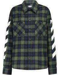 Off-White c/o Virgil Abloh Camisa de franela de algodón - Verde