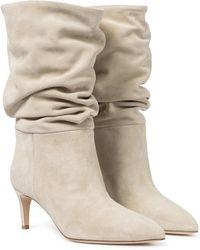 Paris Texas Stiefel aus Veloursleder - Natur
