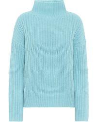 Vince High-neck Wool-blend Sweater - Blue