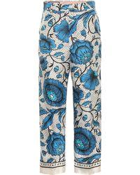 d1ff92016 Gucci - Pantalones de sarga de seda floral - Lyst