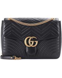 851526bcc84 Gucci - Sac à bandoulière en cuir matelassé GG Marmont Large - Lyst