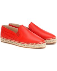 Bottega Veneta Gala Leather Espadrille - Red
