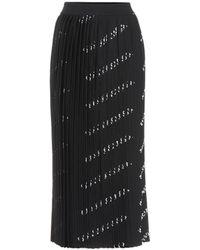 Balenciaga Allover Logo Pleated Skirt - Black
