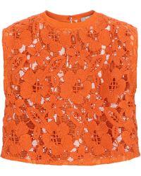 Valentino Crop top de encaje - Naranja