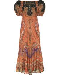Etro Puff Sleeve Dress - Brown