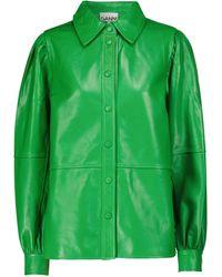 Ganni Hemd aus Leder - Grün