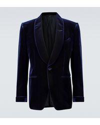Tom Ford Blazer Shelton de terciopelo - Azul